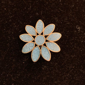 Mexican Silver and Turquoise Pin brooch Flower